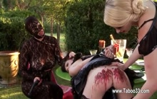 Kinky slave gets waxed by 2 dominant girls