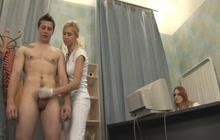 Two Nasty Nurses Teasing A Horny Dude
