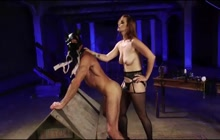 Bound dude fucked with strapon