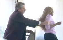 Hot ebony teen spanked by an old white guy