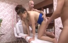 Japanese trio with a masseuse