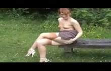 Red Haired Slut Masturbating In The Park