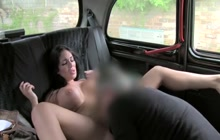 Emily B seducing taxi driver with her huge tits