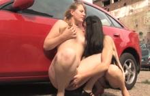 Lea and Daniella at the parking lot