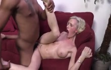 Slender blonde hoe tries a huge black one