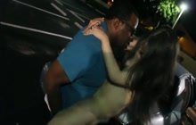 Brunette fucked by a black dude in a parking lot