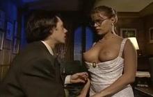 Classic porn scene with girl in glasses