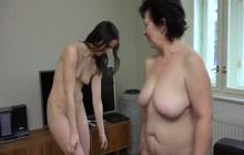 Cute brunette pleasing mature slut