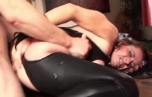 Horny mature gets tied and anal banged