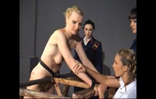 Girl gets tied and caned