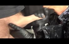 Giving Hot Handjob With Leather Gloves