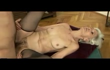 Skinny blonde granny fucked by young guy